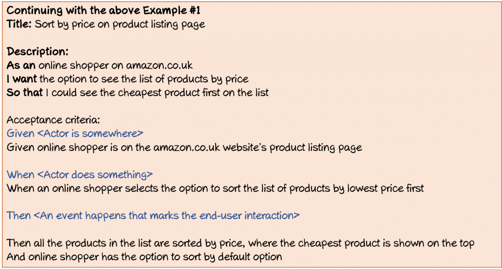Example of a user story for sort by price