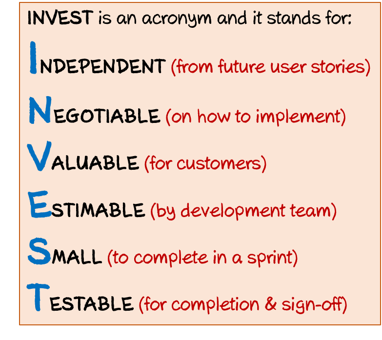 Invest principle of writing a user story in Agile