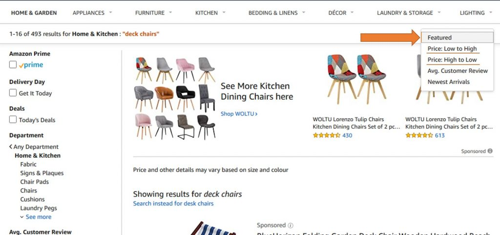 User Story example for Sorting by price